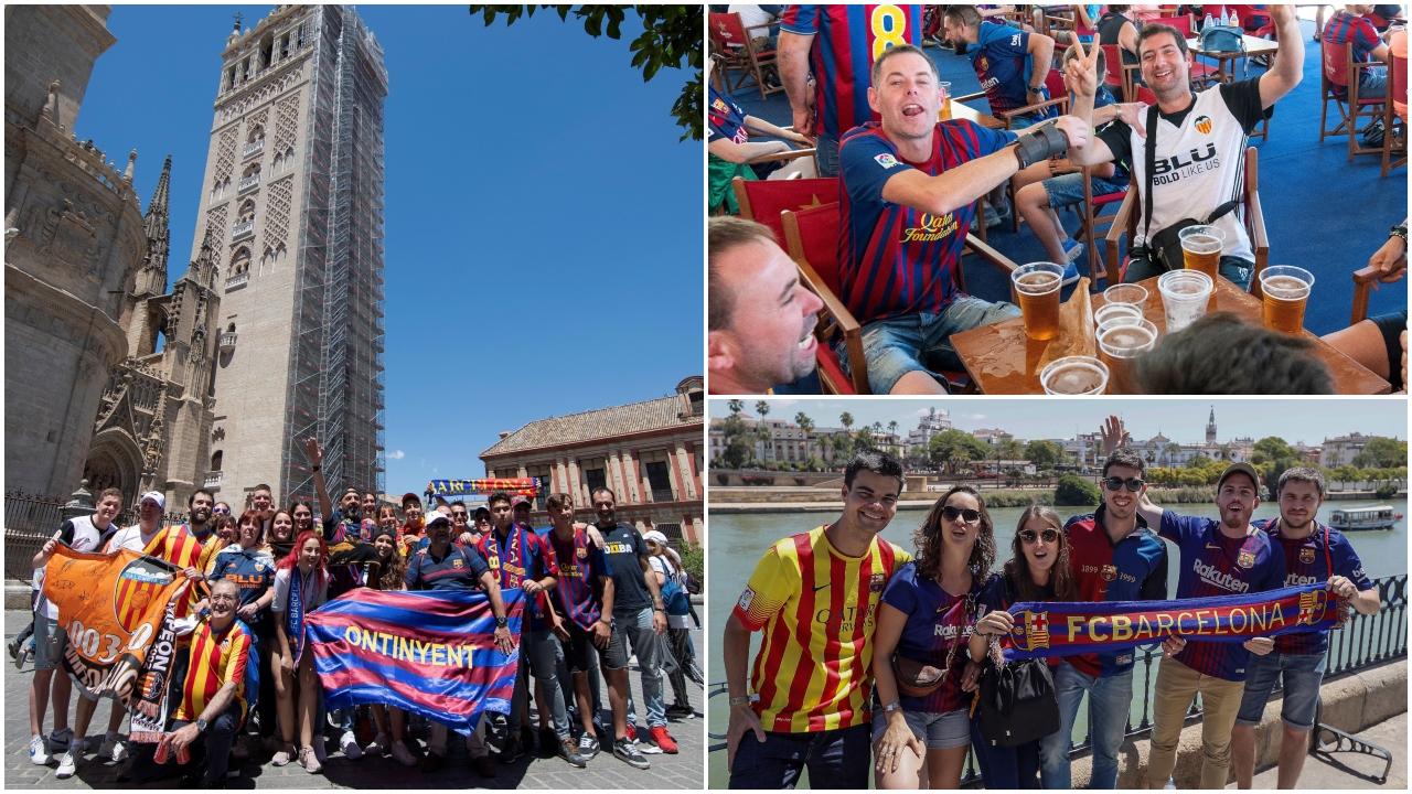 Sevilla es una fiesta: blaugranas y valencianistas se tomaron la ciudad para la Final de Copa
