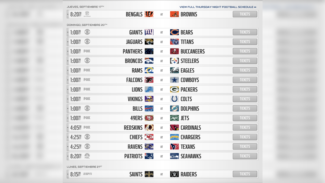 NFL: Calendario de la temporada 2020 y rivales de cada equipo