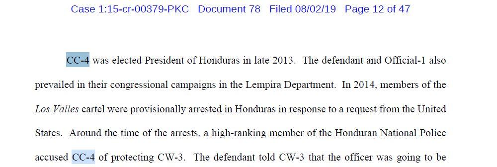 Presidente de Honduras implicado en una conspiración para