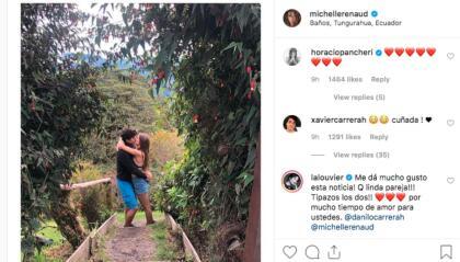 """Hasta este sábado, cerca de la medianoche, que tanto Danilo Carrera como Michelle Renaud publicaron la misma foto, desde Ecuador, donde con un beso confirman su romance. Xavier, hermano de Danilo, ya le dio la bienvenida a la familia a la actriz mexicana, a quien <b>llamó """"cuñada""""</b>, mientras que famosos, como <b>Horacio Pancheri</b>, Sharis Cid, <b>Adriana Louvier</b> y Marlene Favela, entre otros, aplaudieron a sus colegas."""