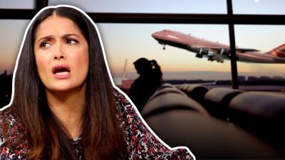 Salma Hayek no respeta los señalamientos en un aeropuerto británico y comete una falta