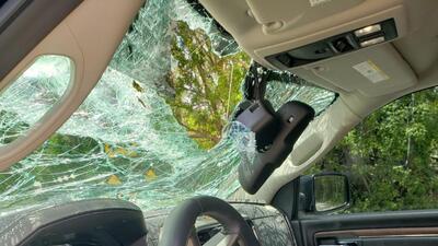 """""""Cuando sintió el impacto se asustó tanto que enseguida empezó a llorar"""": chofer que iba con su hija cuando les cayó una rama en el auto"""