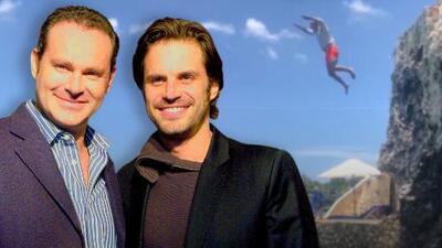 Alan Tacher presume su arriesgado salto al mar, pero su 'hazaña' no impresiona a su hermano Mark