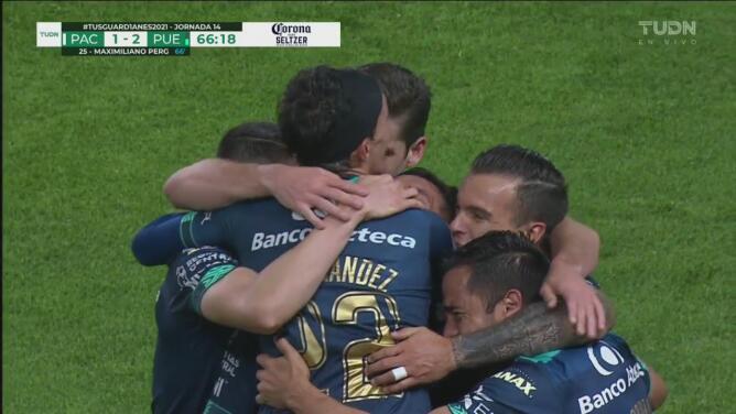 ¡Estupendo cabezazo! Maxi Perg se luce y logra el 1-2 de Puebla