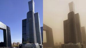 Antes y después de la enorme tormenta de arena que cubrió China