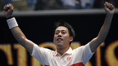 Kei Nishikori gana el primer partido con 'super tiebreak' en un Grand Slam