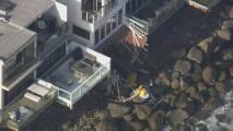 Difunden las imágenes del colapso de un balcón con una docena de personas que cayeron quince pies playa abajo
