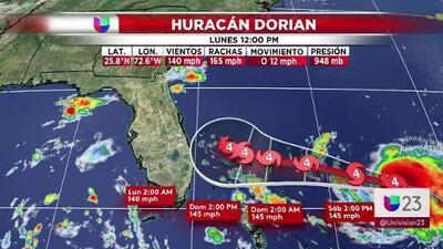 Esta es la trayectoria del huracán Dorian según el último pronóstico: Miami-Dade sale del cono