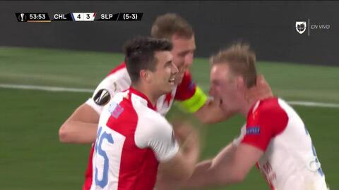 ¡GOOOL! Petr Sevcik anota para Slavia Prague