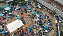 Viviendo en una tienda de campaña: así es el día a día de los migrantes de la caravana