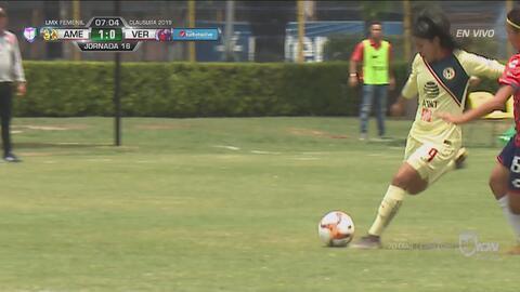 Lucero Cuevas de media vuelta pone el 1-0 de América a Veracruz