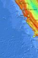 El mapa con el sistema de fallas geológicas ubica los sismos registrados del 23 al 29 de octubre de 2017 en California.