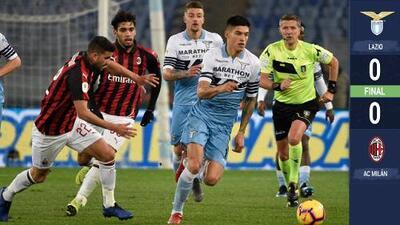 Milan saca un empate en su visita al Lazio en la ida de la semifinales de la Copa Italia