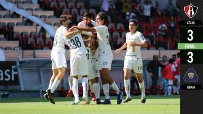 Movido empate entre Atlas y Pumas en la ida de la Final Sub-17