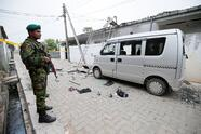 Security personnel seen at the site of an overnight gun battle between troops and suspected Islamist militants, on the east coast ofSriLanka, in Kalmunai, April 27, 2019. REUTERS/Dinuka Liyanawatte