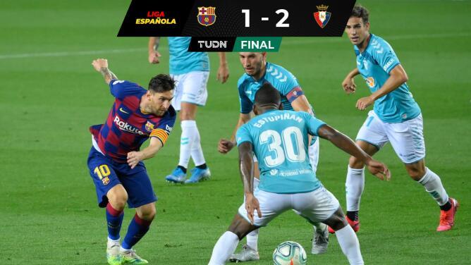 Barcelona cae en casa ante el Osasuna; Mallorca desciende