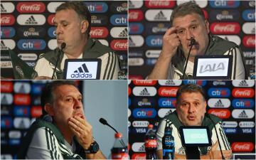 Los rostros de Gerardo 'Tata' Martino en la rueda de prensa de cara a la Copa Oro
