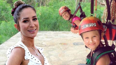 """""""Igual de aventadas que su madre"""": Geraldine Bazán comprobó la valentía de sus hijas al lanzarse en una tirolesa"""