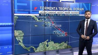 Dorian continúa siendo una tormenta tropical y sigue su paso hacia una región de Puerto Rico