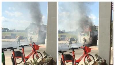 Camión de FedEx estalla en llamas en el centro de Austin