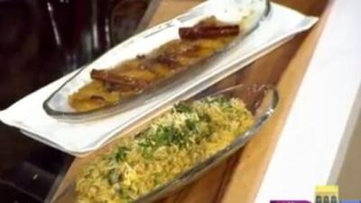 La receta: amarillitos en almíbar y arroz cremoso con setas