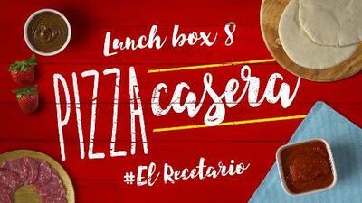 Pizza casera + banana con nutella (Día 8) - 23 ideas para lunch boxes #ElRecetario