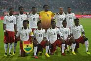 Ghanas national football team's players pose before the start of the WC2014 African zone qualifier second leg play-off between Egypt and Ghana in Cairo on November 19, 2013. The Ghanaians lead 6-1 after the first leg. AFP PHOTO / KHALED DESOUKI (Photo credit should read KHALED DESOUKI/AFP/Getty Images)