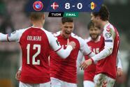 ¡Despiadada goleada! Dinamarca le hizo 8 goles a Moldova