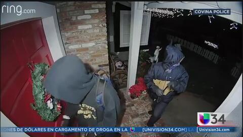 Aterrador video de sospechosos tratando de irrumpir en casa de Covina