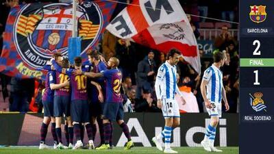 Barcelona mantiene su distancia como líder al vencer a una Real Sociedad sin Héctor Moreno