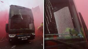 Fans del Liverpool dañan el bus del Real Madrid camino a Anfield