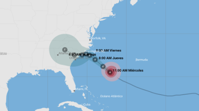 Trayectoria actualizada de la depresión tropical Florence