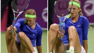 Victoria Azarenka, lesionada en un tobillo, abandonó el torneo de Dubai