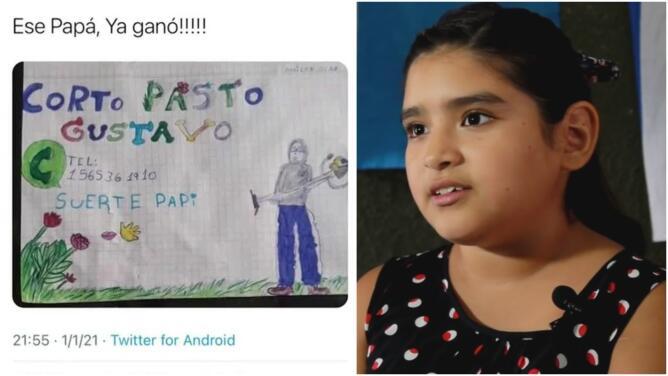 Se hace viral la foto de una niña con un cartel que hizo para ayudar a su padre a buscar trabajo