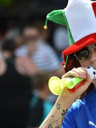 MONTPELLIER, FRANCE - JUNE 25: A fan of Italy shows her support before the 2019 FIFA Women's World Cup France Round Of 16 match between Italy and China at Stade de la Mosson on June 25, 2019 in Montpellier, France. (Photo by Tullio M. Puglia/Getty Images)
