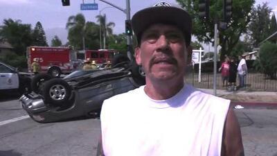 'Machete' al rescate: el actor Danny Trejo salva a un bebé atrapado en un auto volcado en Los Ángeles