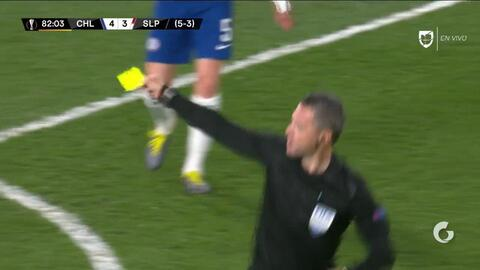 Tarjeta amarilla. El árbitro amonesta a Kepa Arrizabalaga de Chelsea