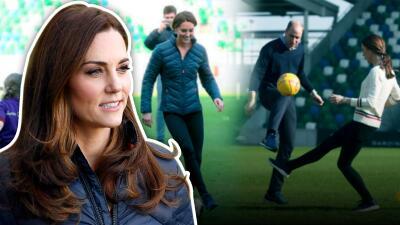 En fotos: Kate Middleton sorprende con sus habilidades para el fútbol (aunque su hijo George dice que no sabe jugar)