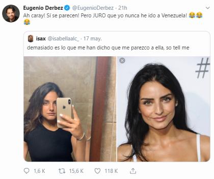 """""""¡Ah caray, sí se parecen! Pero JURO que nunca he ido a Venezuela"""", comentó el comediante sobre la publicación de la joven."""