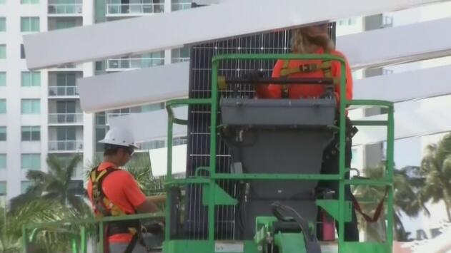 Comienza la instalación de los 500 paneles solares en el Bayfront Park