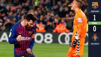 De dos penales Messi metió uno y falló otro en pálido triunfo del FC Barcelona