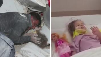 Se recupera niña rescatada tras pasar 65 horas bajo los escombros en Turquía