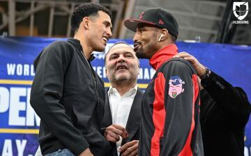 En fotos: ¡Caliente cara a cara! David Benavidez y J'Leon Love se dijeron de todo en rueda de prensa