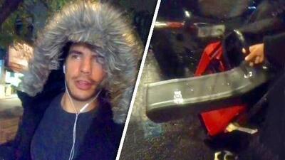 Con maleta en mano y lloviendo, Vadhir Derbez asegura que no tiene casa ni dónde dormir