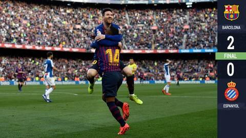 ¡Con doblete de Messi! El Barcelona se queda con el derbi catalán