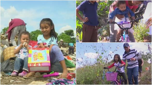 Niños que solo tenían juguetes de un basurero cumplen su sueño de Navidad