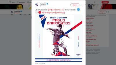 Dejó la Liga MX: 'Pitu' Barrientos cambió Toluca por Nacional de Montevideo