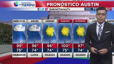 Nubosidad y lluvias para el centro de Texas