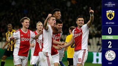 Ajax derrota al AEK y clasifica a los octavos de final de la Champions League