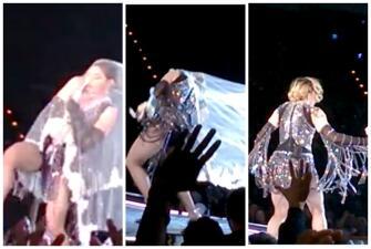 Madonna casi besa el piso... ¡Una vez más!